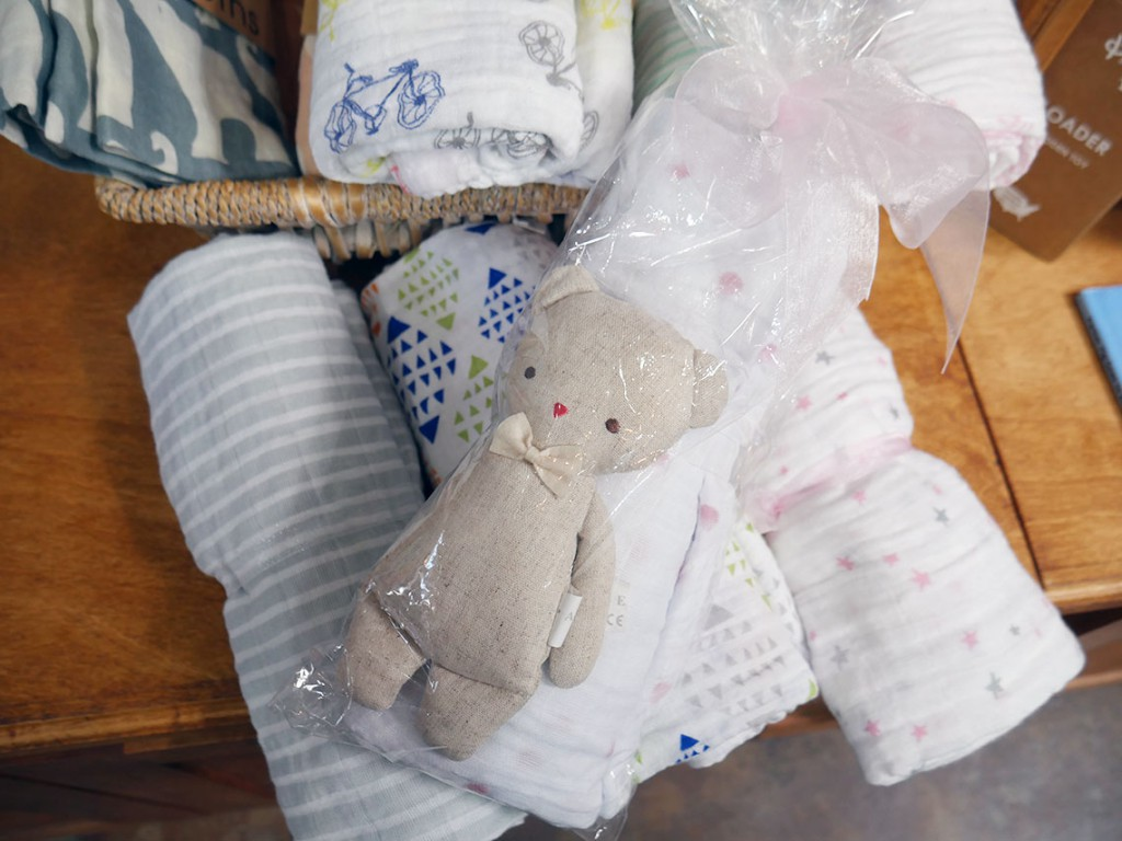 Rattle and swaddle gift set, $42 at Nathalie Seaver