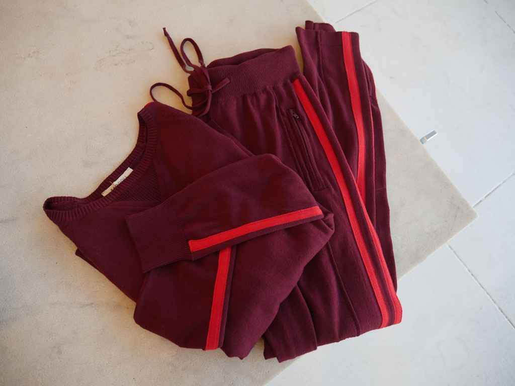 Ragdoll Stripe sweater and pants in bordeaux and red, $169 each