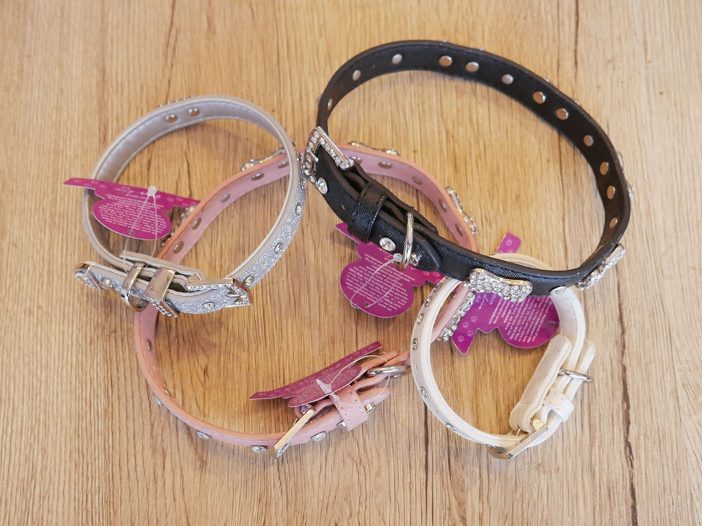 Assorted dog collars, $25 to $35