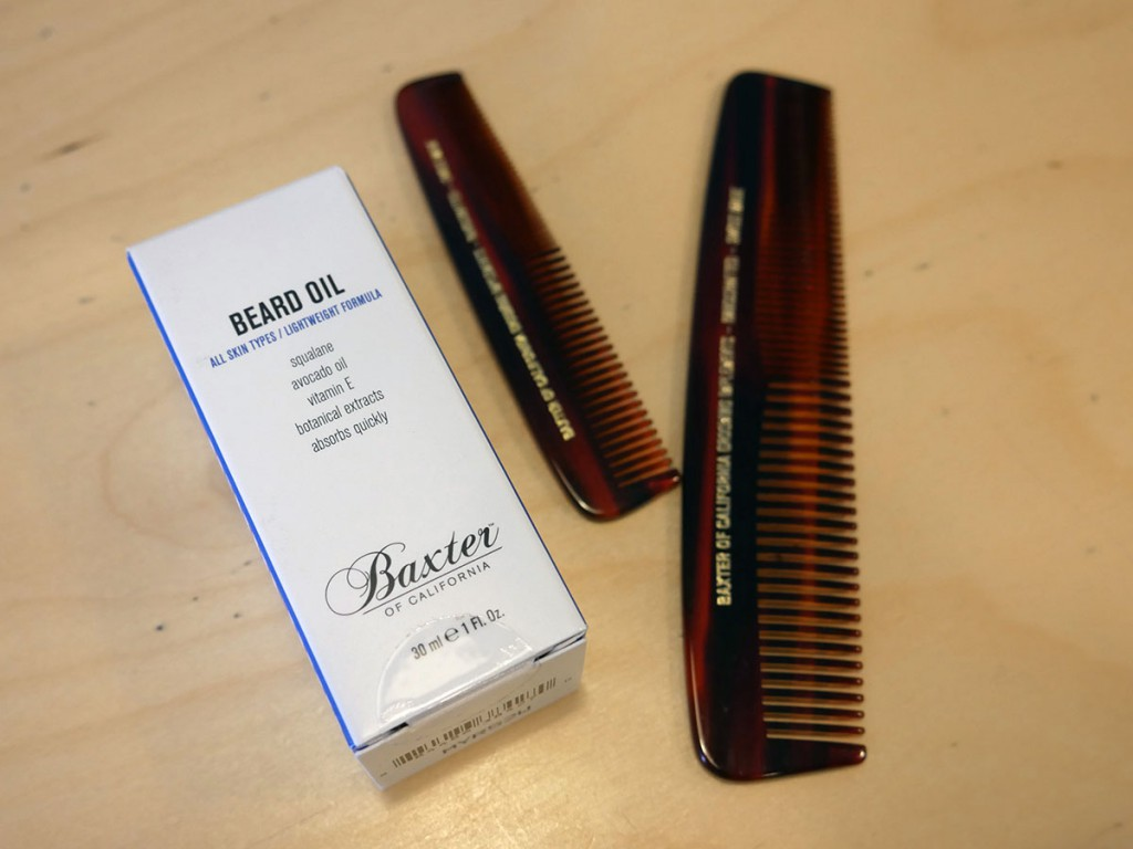 Baxter of California beard oil ($27) and combs ($16 to $18)