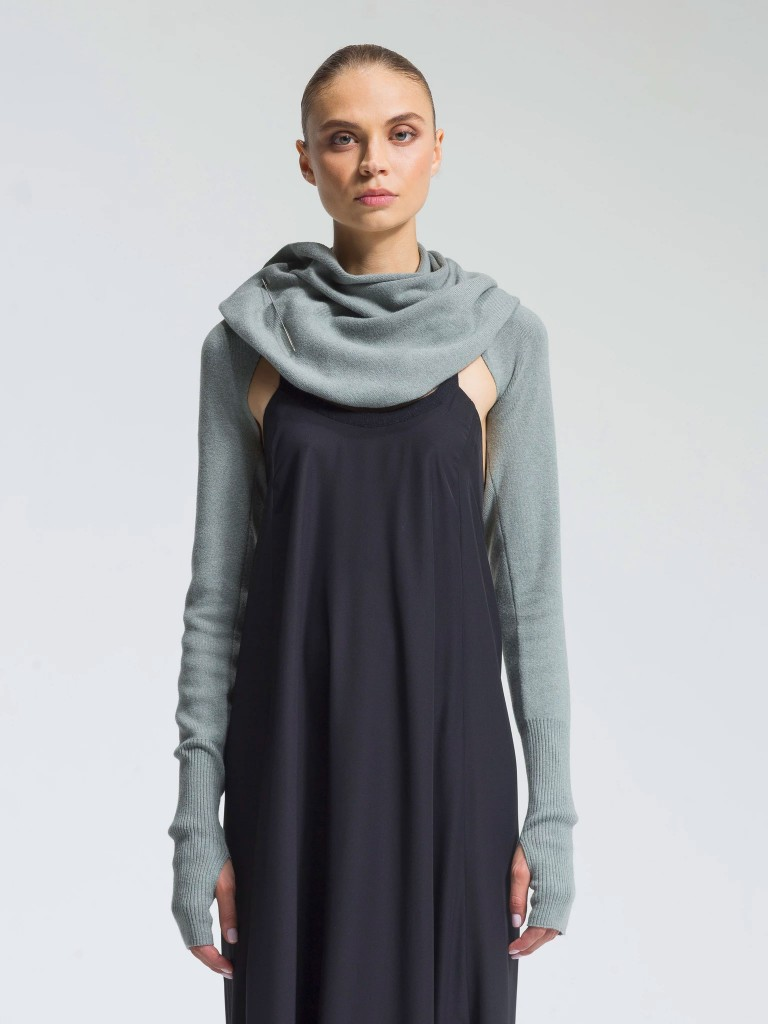 NFP cotton cashmere sleeve shrug, $215